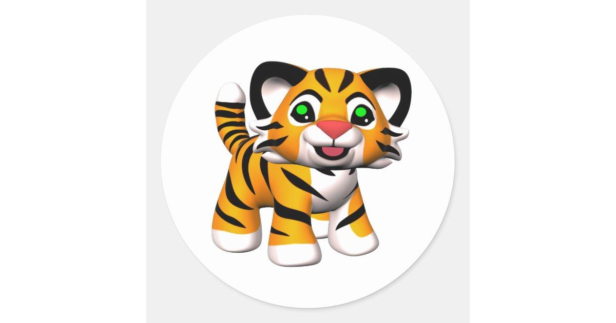 3d Cartoon Tiger Cub Classic Round Sticker Zazzle