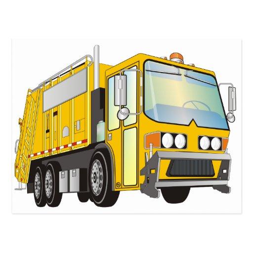 3d Garbage Truck Yellow Postcard | Zazzle