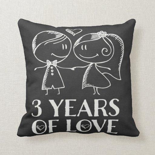 Gift For Third Wedding Anniversary: 3rd Anniversary Chalk Couple Gift Throw Pillow
