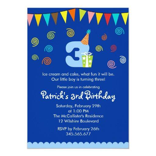 3rd birthday children's party invitation  zazzle