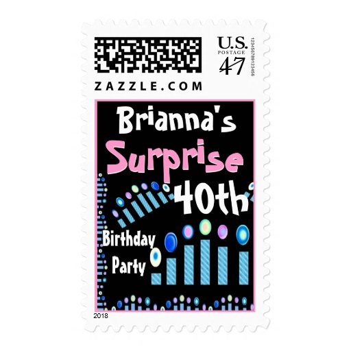 40th - 49th SURPRISE Birthday With Blue Candles Stamp
