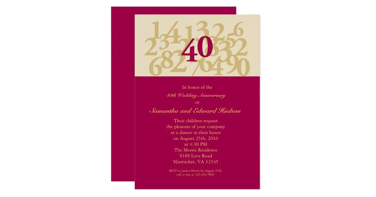 Ruby 40th Wedding Anniversary Gifts: 40th Ruby Wedding Anniversary Invitation