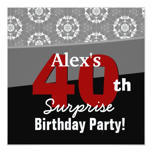 40th Surprise Birthday Modern Black White Red V13 Card