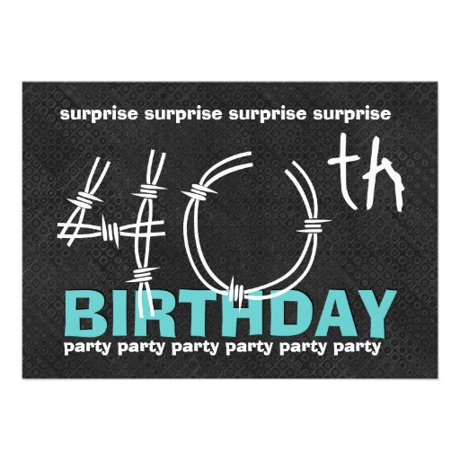40th SURPRISE Birthday Party Blue Black C341 5x7 Paper