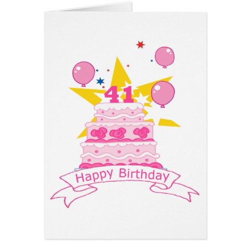 41 Year Old Birthday Cake Card