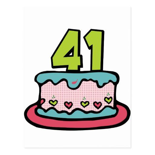 41 Year Old Birthday Cake Postcard