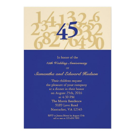"Traditional 45th Wedding Anniversary Gift: 45th Sapphire Wedding Anniversary Invitation 5"" X 7"