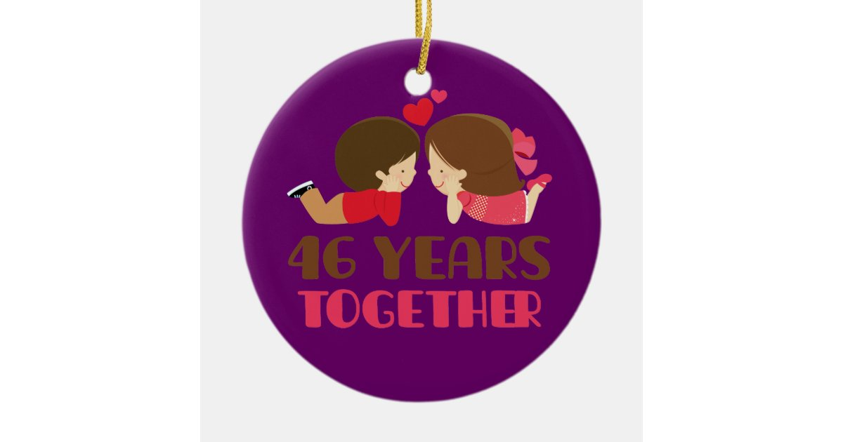 46th Wedding Anniversary Gift: 46th Wedding Anniversary Gift For Her Ceramic Ornament