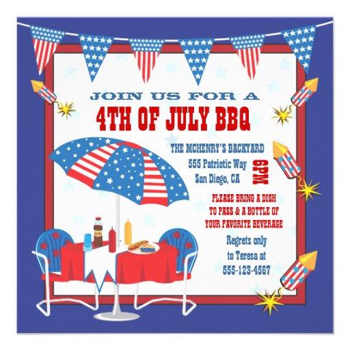 4TH Of July Patriotic Picnic BBQ Party Invitation 5.25