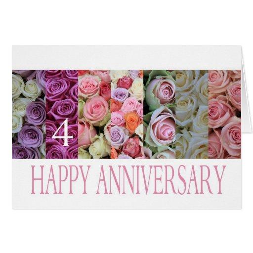 4th Wedding Anniversary: 4th Wedding Anniversary Card Pastel Roses