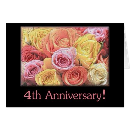 4th Wedding Anniversary: 4th Wedding Anniversary Mixed Rose Bouquet Card
