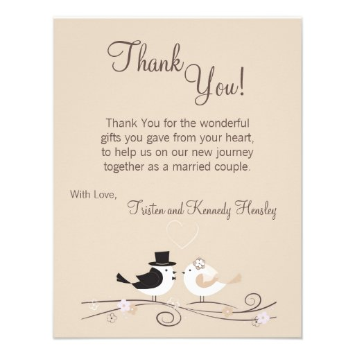 "Wedding Poems For Bride And Groom: 4x5 FLAT Thank You Card Wedding Birds Bride Groom 4.25"" X"