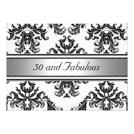 "50 And Fabulous Text: 50 And Fabulous Damask Birthday Invitation 5"" X 7"