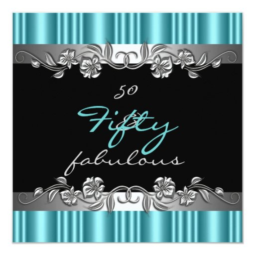 Fab 50 Birthday: 50 & Fabulous 50th Birthday Party Silver Teal Invitation