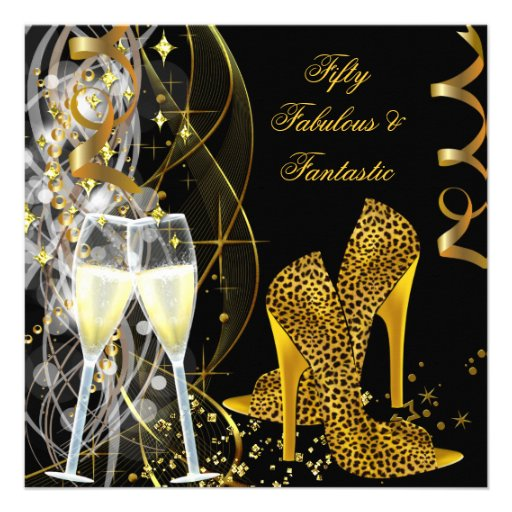 Fab 50 People: 50 Fabulous & Fantastic Leopard Champagne Party 5.25x5.25