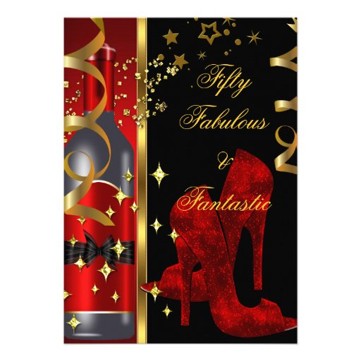 50 Fabulous Fantastic Red Black Gold Birthday Invitation