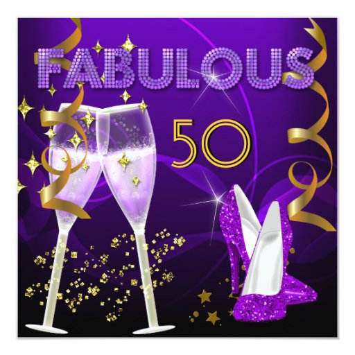 50 And Fabulous Text: 50 Fabulous Purple Gold Champagne Shoes Card