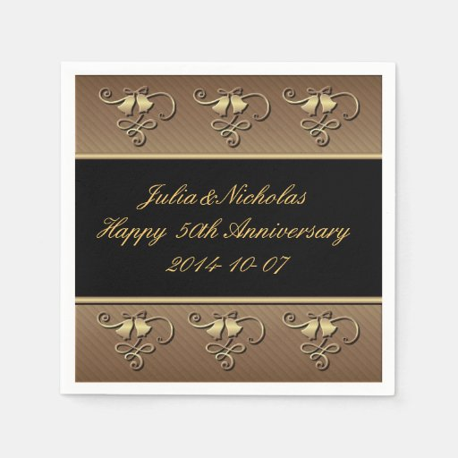 Black And Gold Beverage Napkins: 50th Anniversary Gold & Black Personalized Napkins