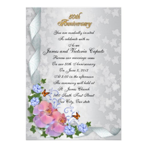 50th Wedding Anniversary Vows Renewal: 50th Anniversary Vow Renewal Elegant Floral Orchid 5x7