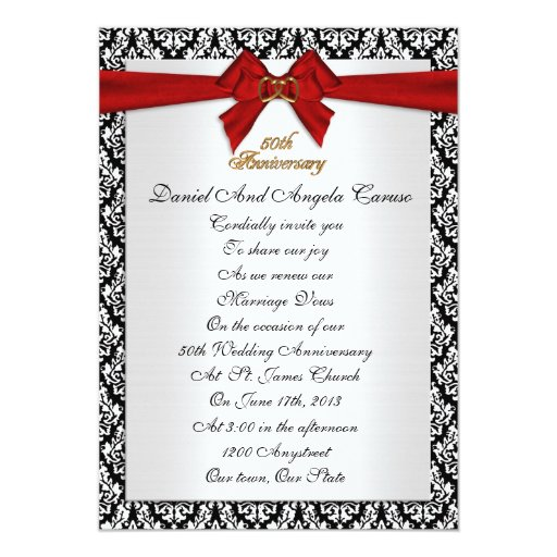 "Wedding Anniversary Program Ideas: 50th Anniversary Vow Renewal Invitation 5"" X 7"" Invitation"