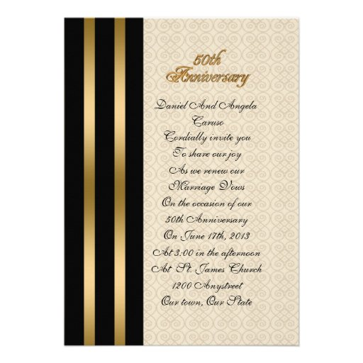 "50th Wedding Anniversary Vows Renewal: 50th Anniversary Vow Renewal Invitation 5"" X 7"" Invitation"