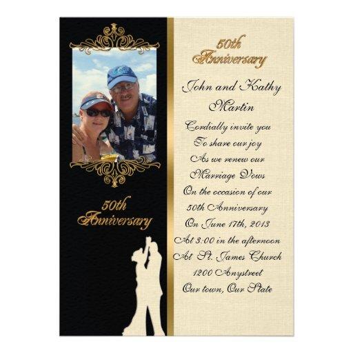 "50th Wedding Anniversary Vows Renewal: 50th Anniversary Vow Renewal Invitation Elegant 5.5"" X 7.5"