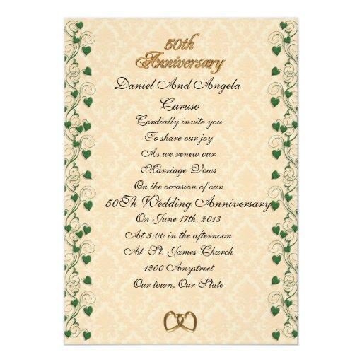 50th Wedding Anniversary Vows Renewal: 50th Anniversary Vow Renewal Invitation Ivy