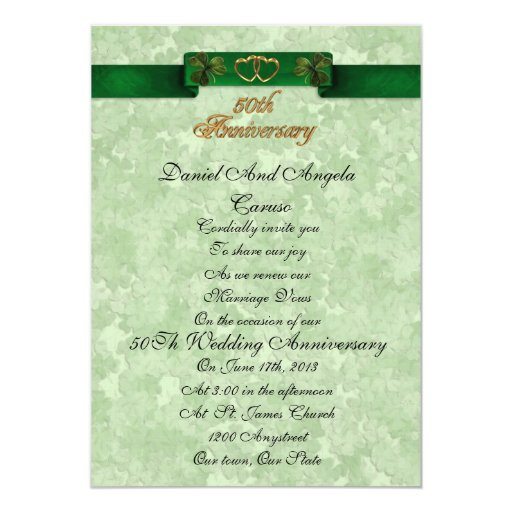 50th Wedding Anniversary Vows Renewal: 50th Anniversary Vow Renewal Irish Invitation