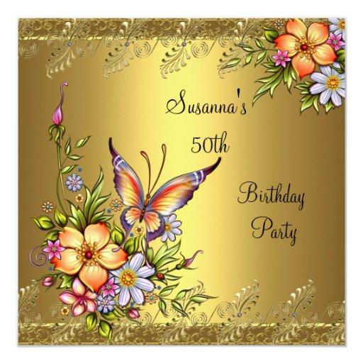 50th Birthday Elegant Gold Pink Yellow Flowers Invitation
