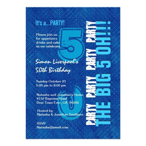 50th Birthday For Him Royal Blue And Aqua W1503 5x7 Paper