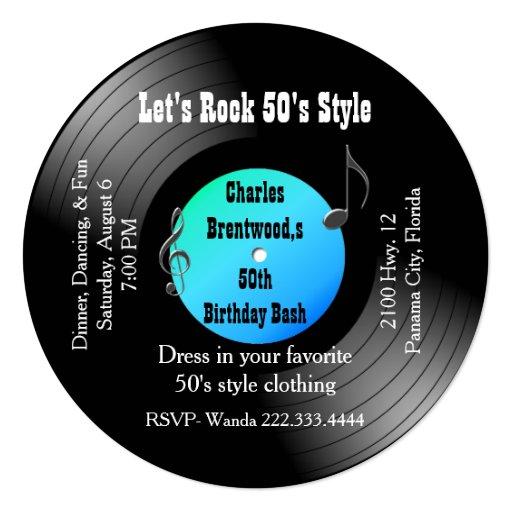 50th Birthday Party Record Invitation Zazzle