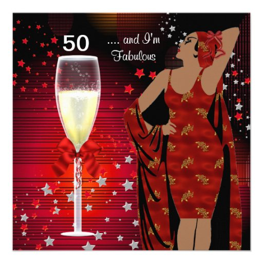 Fab 50 People: 50th Birthday Party Retro Diva Art Deco Red White 5.25