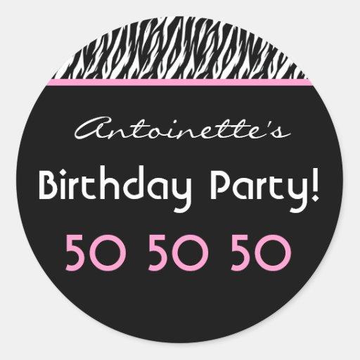 50th Birthday Party Zebra With Pink Custom Name V4 Round