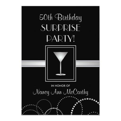 50th Birthday Surprise Party Elegant Invitations