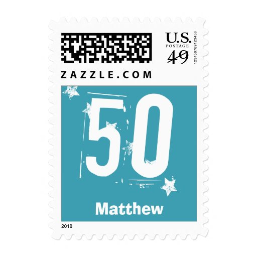 50th Birthday Trendy Grunge Letters Stars Z05 Teal Postage