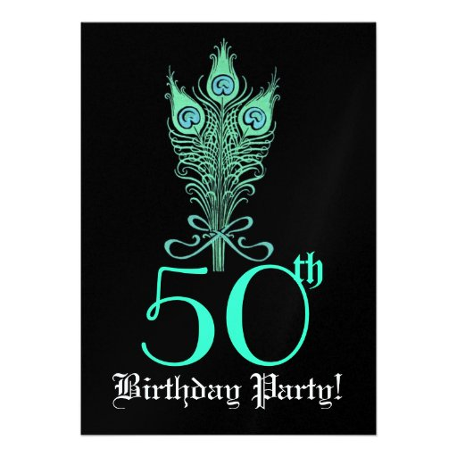 """50th Birthday Turquoise Peacock Feathers Template 5"""" X 7"""