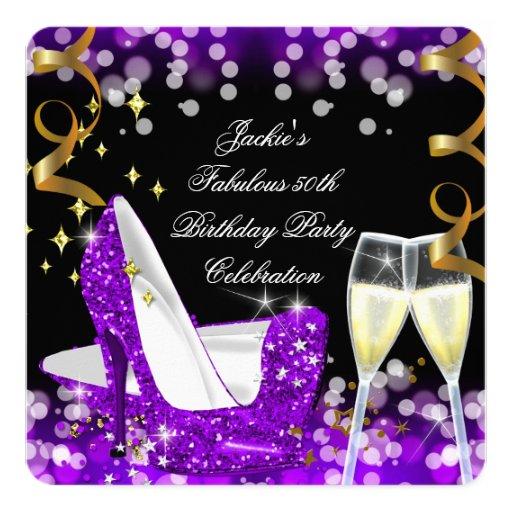 50th And Fab: 50th Fabulous Purple Glitter High Heel Birthday Card