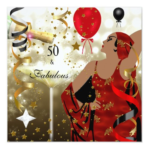 Fab 50 People: 50th Fifty Birthday Party Glamorous Lady Fabulous Card