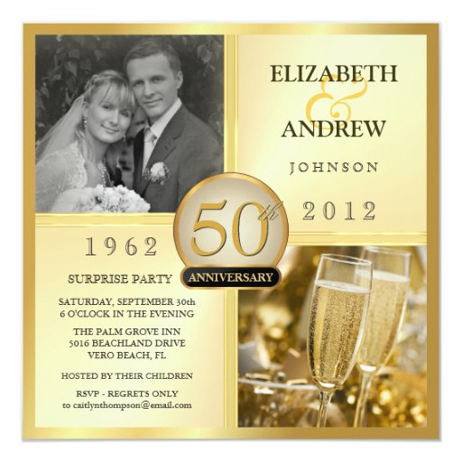 Surprise Gift For Wedding Anniversary: 50th Golden Anniversary Surprise Party Invitations