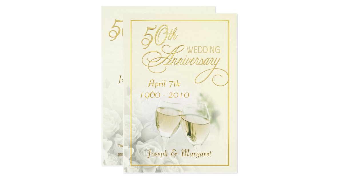 Golden Wedding Invitations Free: 50th Golden Wedding Anniversary Party Invitations