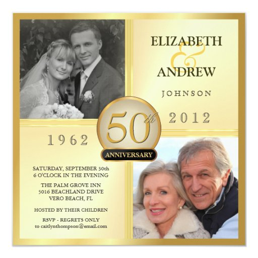 50th Wedding Anniversary Invitation Ideas: 50th Golden Wedding Anniversary Photo Invitations