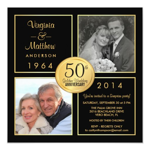 50th Wedding Anniversary Invitation Ideas: 50th Golden Wedding Anniversary Surprise Party 5.25x5.25