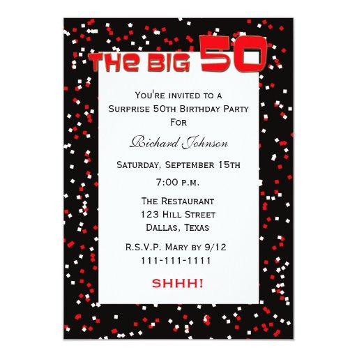 50th Surprise Birthday Party Invitation Confetti