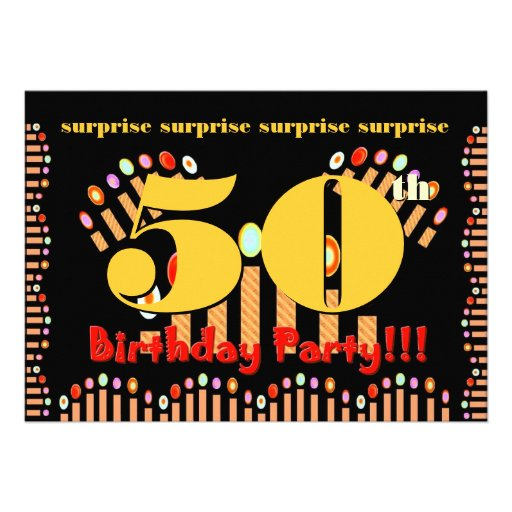 """50th SURPRISE Birthday Party Invitation Template 5"""" X 7"""