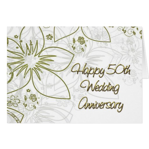 Flower For 50th Wedding Anniversary: 50th Wedding Anniversary Gold Flowers And Swirls Card