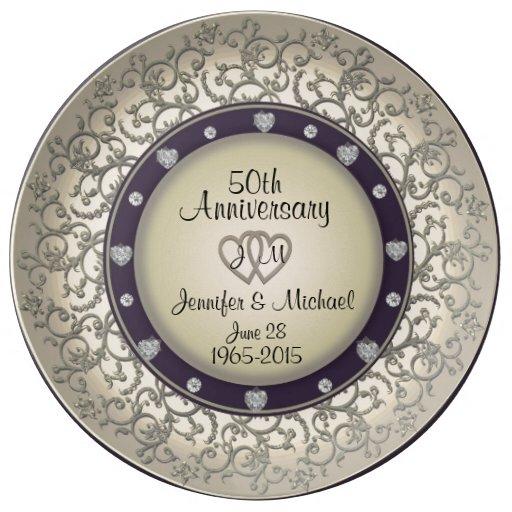 50th Wedding Anniversary Monogram Plate Zazzle