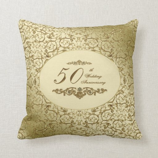Floral Gold 50th Wedding Anniversary Pillow | Zazzle |50th Wedding Anniversary Pillows