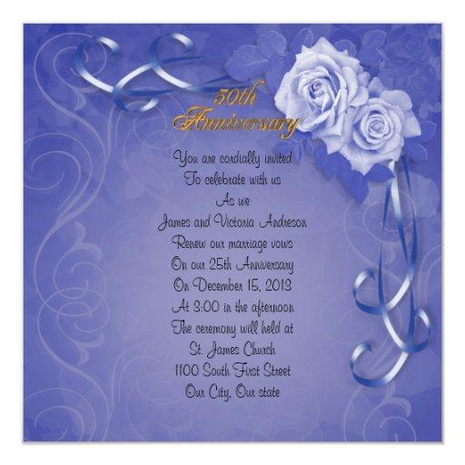 50th Wedding Anniversary Vows Renewal: 50th Wedding Anniversary Vow Renewal Blue Roses Invitation