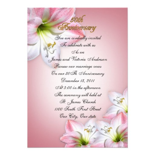 50th Wedding Anniversary Vows Renewal: 50th Wedding Anniversary Vow Renewal Pink Amarylis 5x7