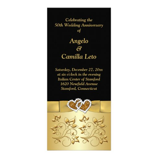 Wedding Anniversary Program Ideas: 50th Wedding Anniversary Vow Renewal Program Rack Card